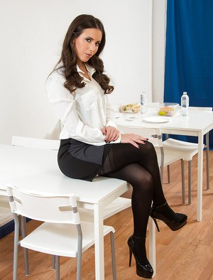 Brunette slut with a big ass Casey is a stunning office secretary
