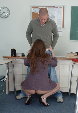 Sexy looking teacher Rossi wants to taste that massive cock
