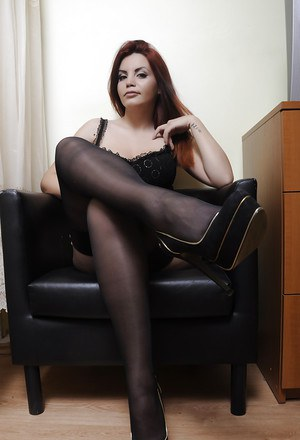 Amazing big tit girl in black stockings Princess is showing her body