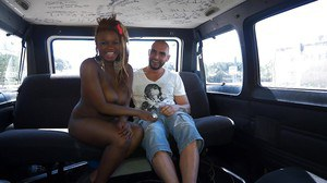 Cute looking ebony whore Estrella is sucking and fucking in a car