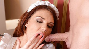 Cute European maid Emma is giving a deep sloppy blowjob