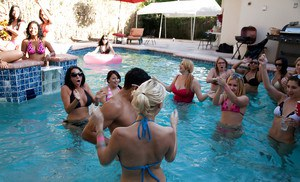 Fantastic outdoor party at the pool with a bunch of how wet chicks