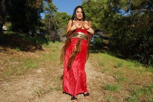 Latina milf Galilea is showing off outdoor in her sexy red dress
