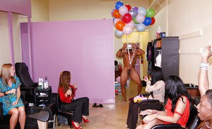 Ebony schoolgirl is having fun with her girlfriend on a crazy party