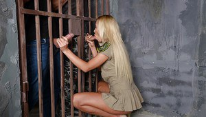 Prison threesome fuck with an superb blonde chick with tiny tits Angie Koks