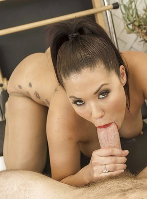 Asian brunette London Keyes has her ass fucked while working out