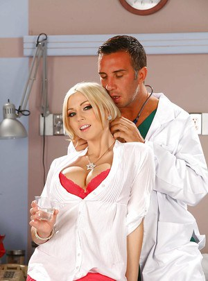 Blonde nurse with big tits Christie Stevens fucking with a doctor
