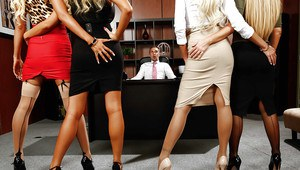 Office groupsex with Courtney Taylor, Nikki Benz, Nina Elle and Summer Brielle
