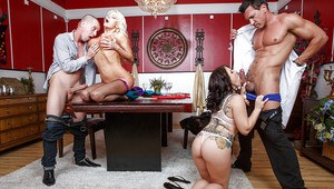 Nikita Von James and Casey Cumz have their fatty butts pounded hard