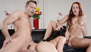 Gracie Glam and Janet Mason are pleasing one dude in a threesome sex