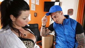 Office sex intercourse featuring brunette cowgirl with big tits Klaudia Hot