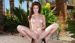 Outdoor posing action featuring big tits milf wife with hot ass Jenni Lee