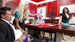 Public sex action from two horny wifes Casey Cumz and Nikita Von James