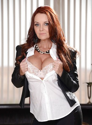Mature office lady with big titties Janet Mason is undressing on camera