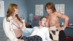 Threesome sex with a big tits milf doctor and nurse Eva Notty