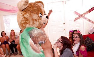 Dancing bear has his cock sucked by girls in glasses and clothes