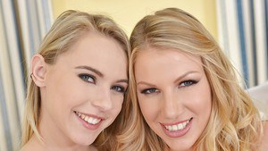 Lesbian blondies Danielle Maye and Chloe Toy are having sex in lingerie