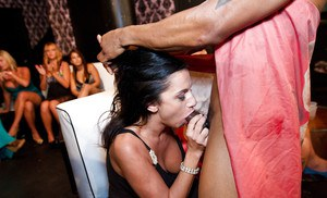 Ebony slut with big tits is pleasing a stripper with her friends