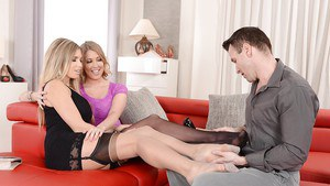 Amazing threesome action with Lexi Lowe and Eva Parcker in stockings