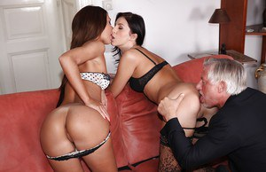 Lingerie models Alexis Brill and Meg Magic in a threesome with an oldman