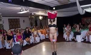Wild party with beautiful clothed ladies playing with strippers cock