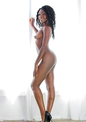 Gorgeous brunette Vicky Vice is showing her ebony tight pussy