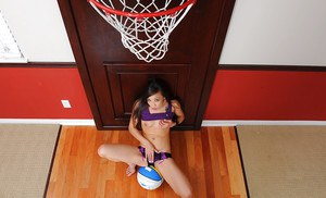 Amateur Asian with tiny tits Arial Rose is playing with a basketball