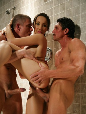 Asian milf Katsuni has her mouth double penetrated in a shower