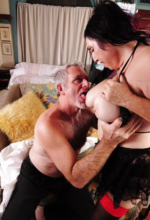 Cumshot scene featuring a horny granny is black stockings Jezzy