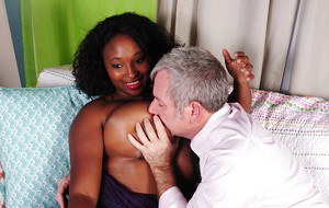 Big tits ebony brunette Marie has her fatty pussy nicely pounded