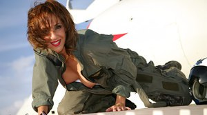 Skillful pilot Roni showing big boobs and masturbating on the plane