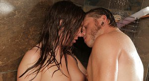 Maddy OReilly is having her wet pussy and ass licked out in a shower