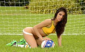 Brunette Latina babe Veronica Rodriguez doing some sports in shorts