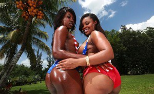 Ebony lesbians Nina Rotti and Skyler Nicole teasing each other outdoor