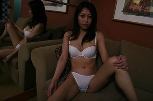 Astounding brunette Hisako Kawaguchi is showing her Asian ass