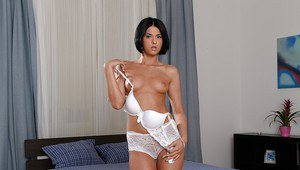 European babe Coco de Mal posing in a sex maid uniform and lingerie