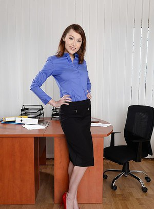 Office secretary Macy is showing her panties, while undressing