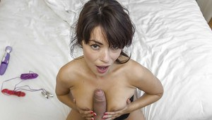 Ava Dalush is playing with her boyfriend cock and her toy in close up