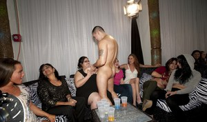 CFNM party with horny fatties sucking huge cock of strippers