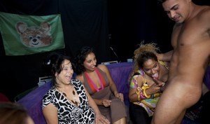 Party girls are caught on camera while receiving cumshots from strippers