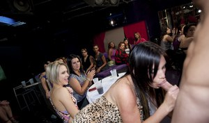 Brunettes and Blondes are teasing hard cock of strippers on a party
