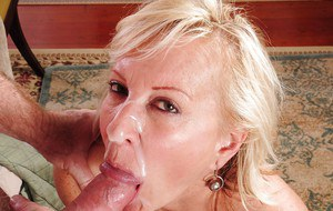 Mature blondie Nicole is taking part in a sweet cumshot scene