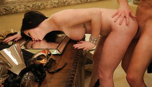 Dark haired cowgirl with big tits Kendall Karson is having an hardcore fuck