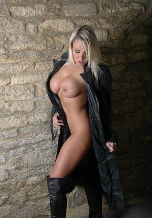 Smoking hot babe with big tits Dannii Harwood is showing off in boots