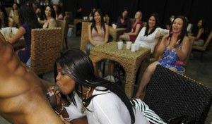 Interracial party with clothed chicks, who love cum in their mouths