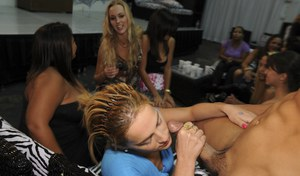 Ebony sluts and clothed white chick having a wild CFNM party