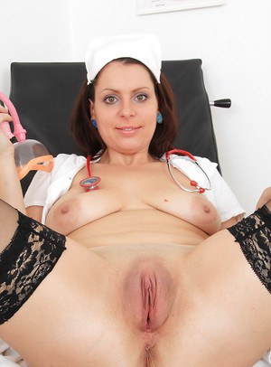 Mature nurse Carmelita plays with toys in a sweet doctor uniform
