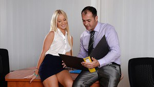 Clothed European blondie Kiara Lord sucks big cock of her boss