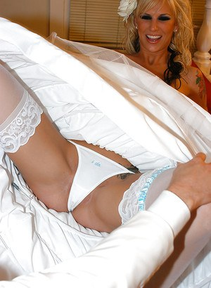 Brooke Banner shows off her fantastic pussy in a wedding dress