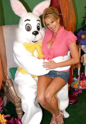 Clothed amateur Kelly Madison suck hard cock of a rabbit in a skirt